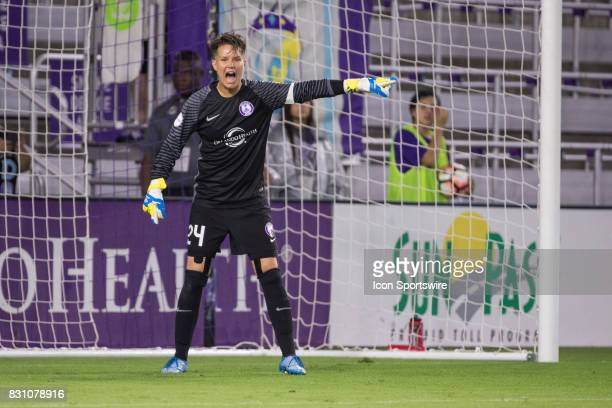 Orlando Pride goalkeeper Ashlyn Harris during the NWSL soccer match between the Orlando Pride and Sky Blue FC on August 12 2017 at Orlando City...