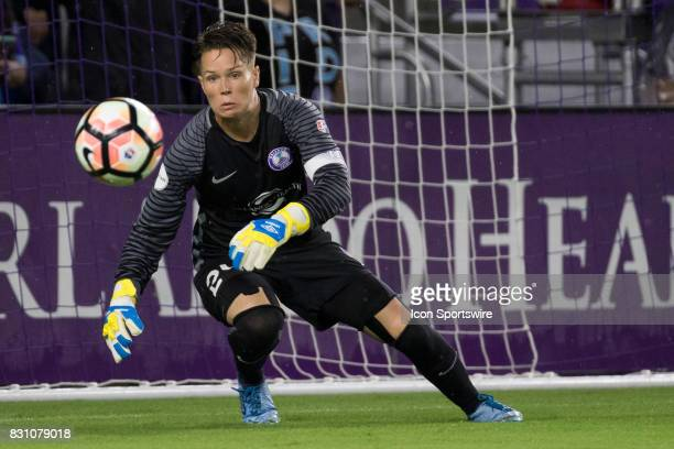 Orlando Pride goalkeeper Ashlyn Harris stops a shot on goal during the NWSL soccer match between the Orlando Pride and Sky Blue FC on August 12 2017...