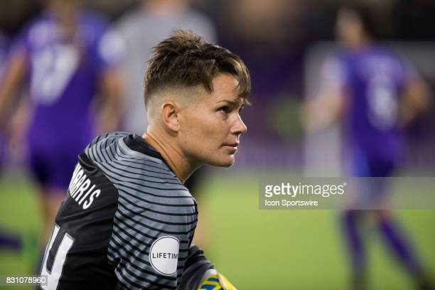 Orlando Pride goalkeeper Ashlyn Harris stretches during the NWSL soccer match between the Orlando Pride and Sky Blue FC on August 12 2017 at Orlando...