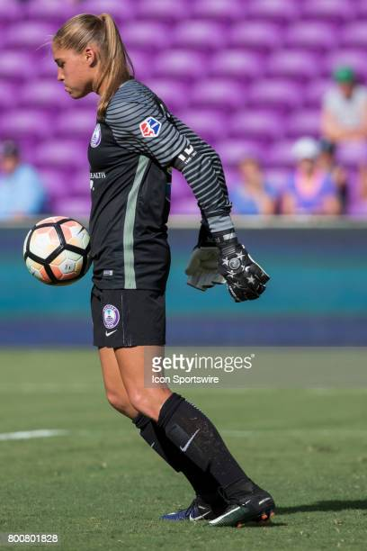 Orlando Pride goalkeeper Aubrey Bledsoe blocks a shot during the NWSL soccer match between the Houston Dash and Orlando Pride on June 24 2017 at...
