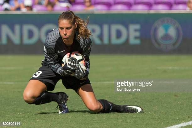 Orlando Pride goalkeeper Aubrey Bledsoe blocks a shot on goal during the NWSL soccer match between the Houston Dash and Orlando Pride on June 24 2017...
