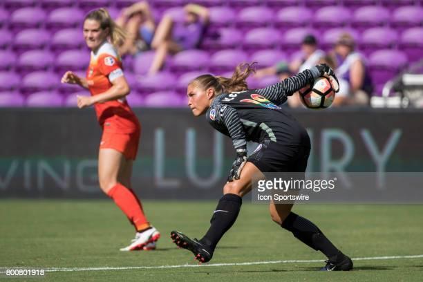 Orlando Pride goalkeeper Aubrey Bledsoe during the NWSL soccer match between the Houston Dash and Orlando Pride on June 24 2017 at Orlando City...