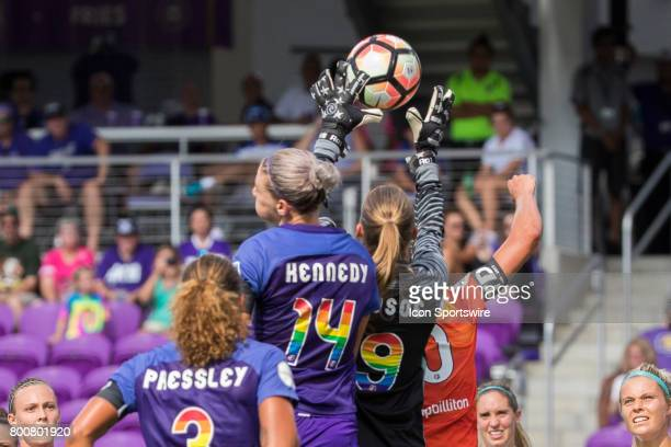 Orlando Pride goalkeeper Aubrey Bledsoe goes up for the ball during the NWSL soccer match between the Houston Dash and Orlando Pride on June 24 2017...