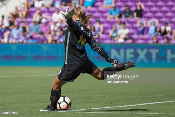 Orlando Pride goalkeeper Aubrey Bledsoe kicks the ball during the NWSL soccer match between the Houston Dash and Orlando Pride on June 24 2017 at...
