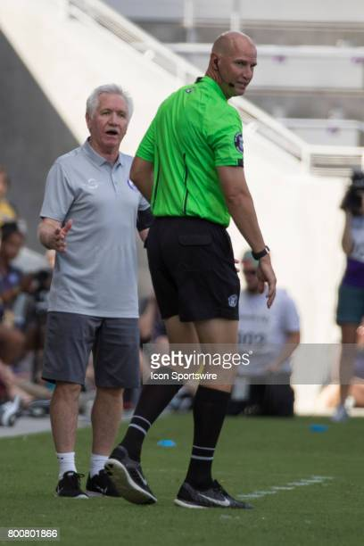 Orlando Pride head coach Tom Sermanni argues a call during the NWSL soccer match between the Houston Dash and Orlando Pride on June 24 2017 at...