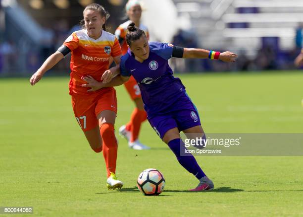 Orlando Pride midfielder Camila Pereira brings the ball up field during the NWSL soccer match between the Orlando Pride and the Houston Dash on June...