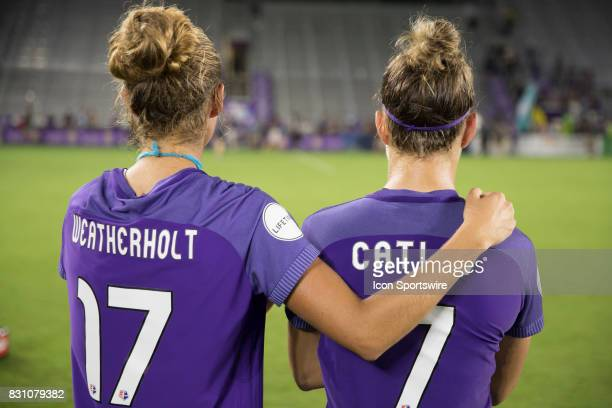 Orlando Pride midfielder Danielle Weatherholt and Orlando Pride defender Steph Catley after the NWSL soccer match between the Orlando Pride and Sky...