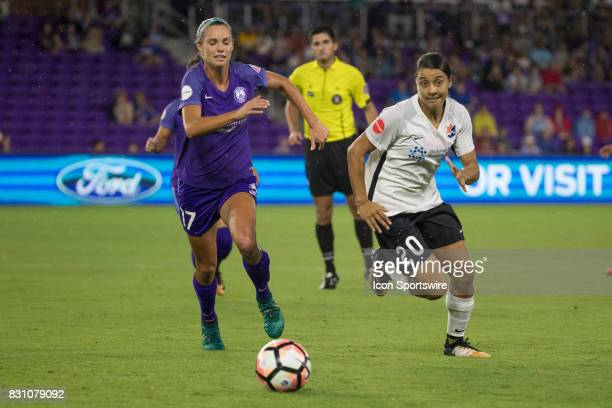 Orlando Pride midfielder Danielle Weatherholt and Sky Blue FC forward Samantha Kerr chase the ball during the NWSL soccer match between the Orlando...
