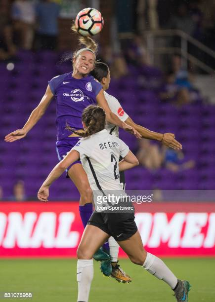 Orlando Pride midfielder Danielle Weatherholt goes up for a header during the NWSL soccer match between the Orlando Pride and Sky Blue FC on August...