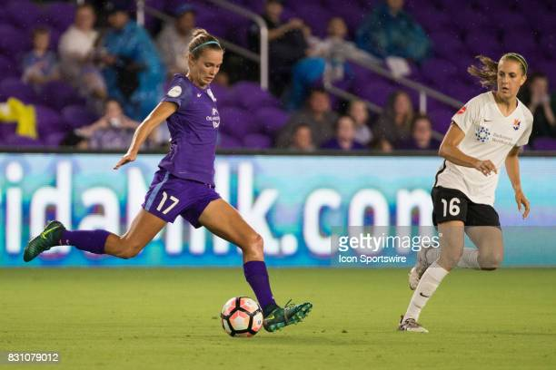 Orlando Pride midfielder Danielle Weatherholt kicks the ball during the NWSL soccer match between the Orlando Pride and Sky Blue FC on August 12 2017...