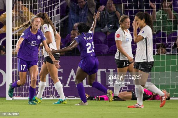 Orlando Pride midfielder Danielle Weatherholt scores her first goal with the Orlando Pride and celebrates with Orlando Pride forward Jasmyne Spencer...