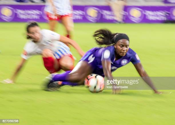 Orlando Pride midfielder Jamia Fields is fouled during the NWSL soccer match between the Orlando Pride and the Chicago Red Stars on August 5th 2017...