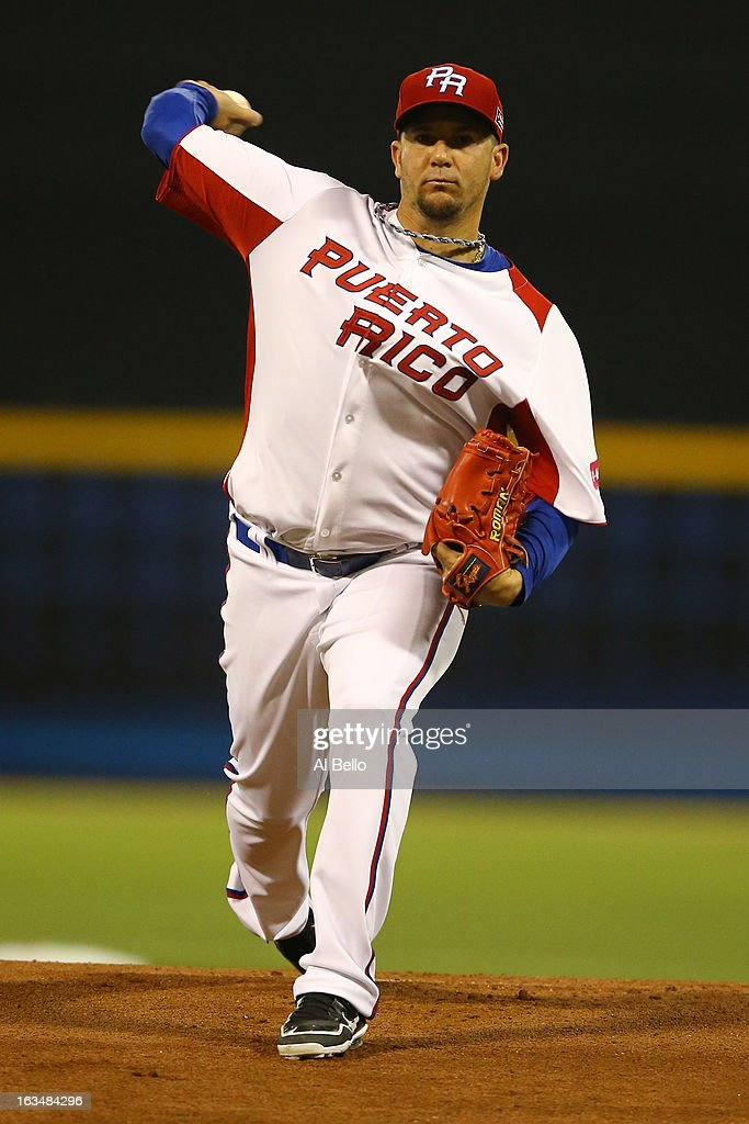 Orlando Roman #34 of Puerto Rico pitches against the Dominican Republic during the first round of the World Baseball Classic at Hiram Bithorn Stadium on March 10, 2013 in San Juan, Puerto Rico.