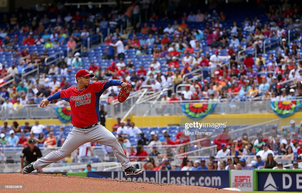Orlando Roman #34 of Puerto Rico pitches during a World Baseball Classic second round game against the Dominican Republicat Marlins Park on March 16, 2013 in Miami, Florida.