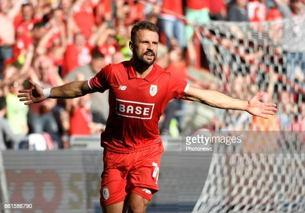 Orlando Sa forward of Standard Liege celebrates scoring a goal pictured during the Jupiler Pro League match between Standard of Liege and KV Kortrijk...