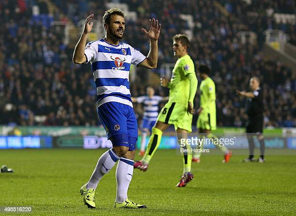 Orlando Sa of Reading reacts after missing a chance during the Sky Bet Championship match between Reading and Huddersfield Town on November 3 2015 in...