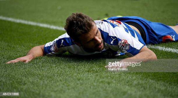 Orlando Sa of Reading reacts after missing a chance on goal during the Sky Bet Championship match between Reading and Leeds United at Madejski...