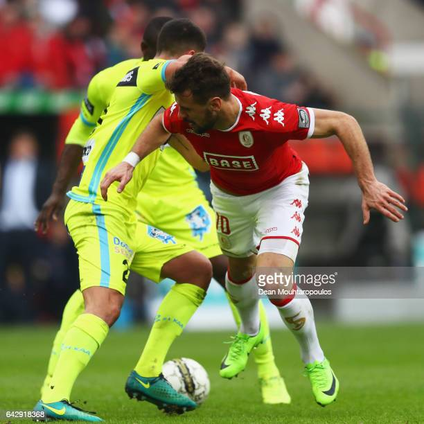 Orlando Sa of Standard Liege battles for the ball with Samuel Gigot of KAA Gent during the Belgian Jupiler Pro League match between Royal Standard de...