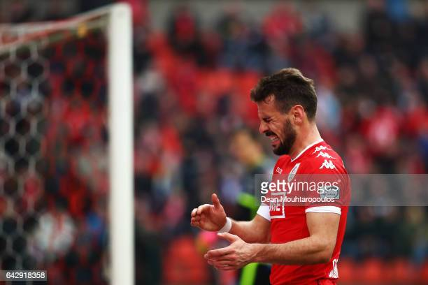 Orlando Sa of Standard Liege reacts to a missed chance on goal during the Belgian Jupiler Pro League match between Royal Standard de Liege and KAA...