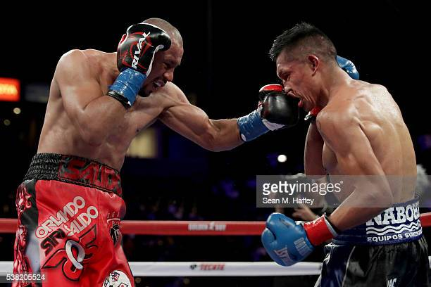 Orlando Salido throws a right to the head of Francisco Vargas during their WBC super featherweight championship bout at StubHub Center on June 4 2016...