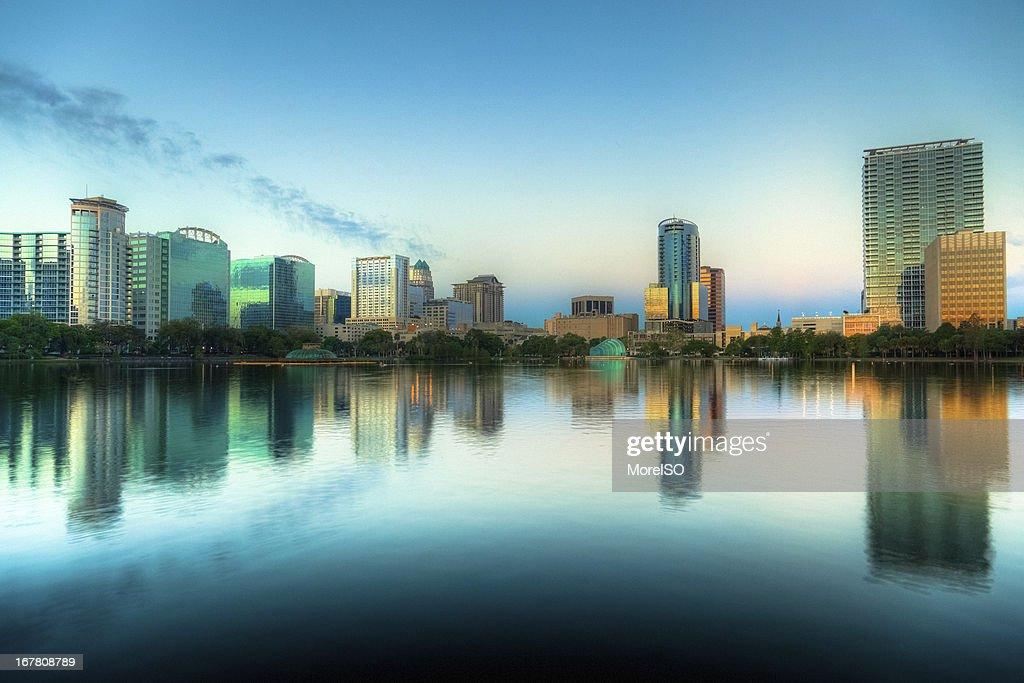 Orlando Skyline at Sunrise seen from Lake Eola