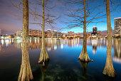 Orlando skyline from lake Eola