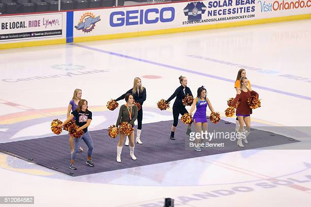 Orlando Solar Bears cheerleaders practice of the day of the game against the Atlanta Gladiators February 12 2016 in Orlando Florida