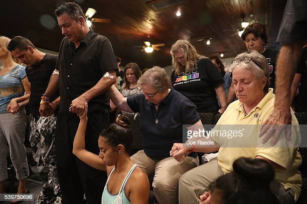 Orlando who was injured in the mass shooting at the Pulse Nightclub attends a memorial service at the Joy MCC Church for the victims of the terror...