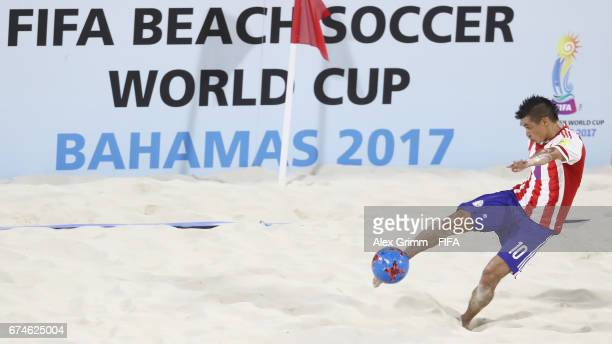 Orlando Zayas of Paraguay shoots the ball during the FIFA Beach Soccer World Cup Bahamas 2017 group C match between United Arab Emirates UAE and...