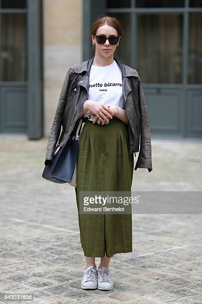 Orlane Lahmanes is wearing a Giorgio perfecto jacket a Ghetto Bizarre tshirt and Adidas shoes before the Sean Suen show during Paris Fashion Week...
