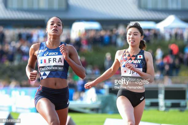 Orlann Ombissa Dzangue of France and Kana Ichikawa of Japan competes in 100m during the DecaNation 2017 on September 9 2017 in Angers France
