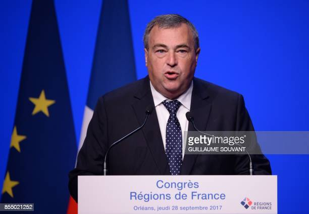 Orleans's Mayor Olivier Carre delivers a speech during the opening of the Congress of French Regions on September 28 2017 in Orleans / AFP PHOTO /...