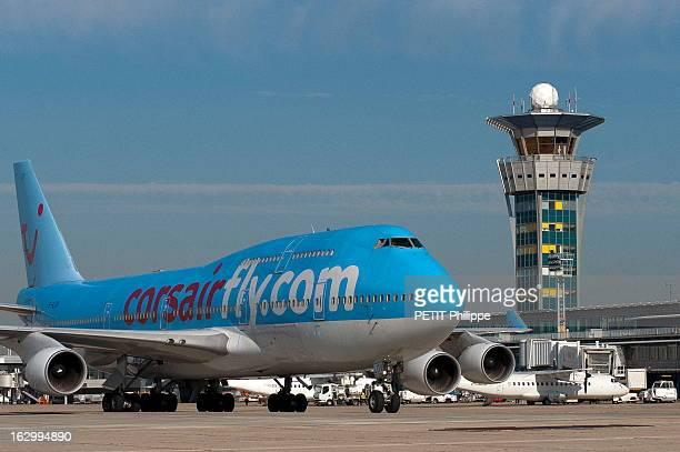 Orly Airport Celebrates Its 50 Anniversary Au coeur de l'aéroport d'ORLY qui fête son 50ème anniversaire un avion Boeing 747 de la compagnie Corsair...