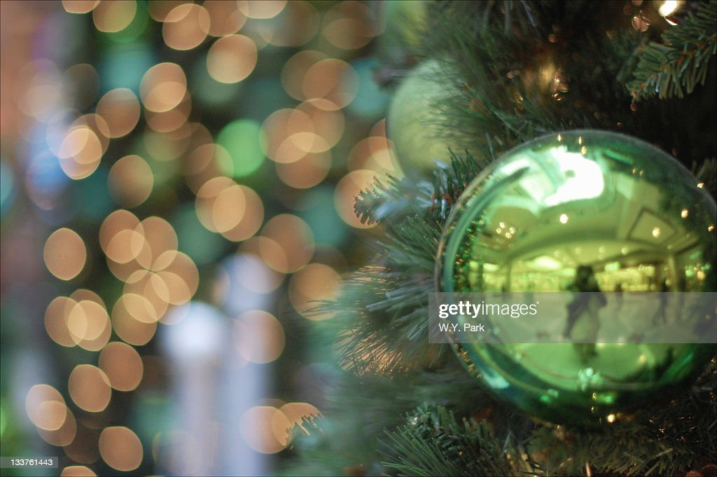 Ornament at Christmas tree with bokeh