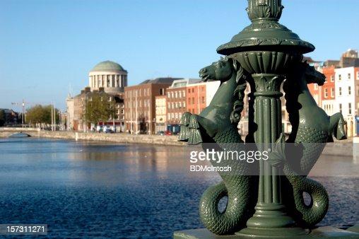 Ornamental lampost base on the Liffy in Dublin