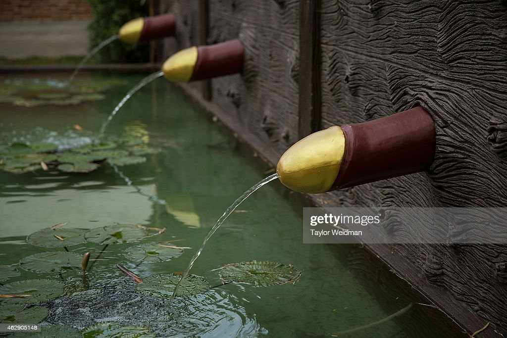Ornamental phallic water fountains are used at the Erotic Garden and Teahouse on February 6 2015 in Mae Rim Thailand The Erotic Garden and Teahouse...