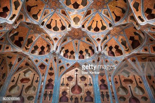 Ornamented ceiling of Ali Kapu palace in  Esfahan