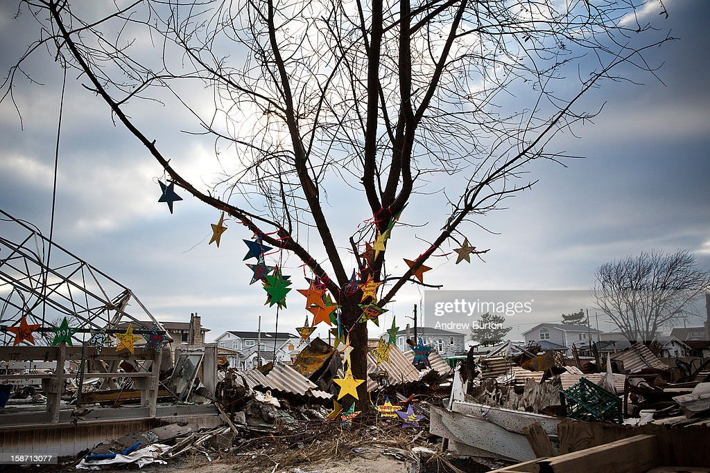 Ornaments hang on a burned tree December 25, 2012 in the Breezy Point neighborhood of the Queens borough of New York City. Residents are still struggling to recover from a massive fire that destroyed over 100 homes during Superstorm Sandy.