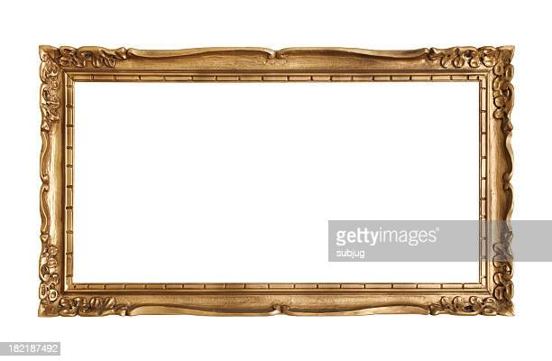 Ornate antique gold frame on white background