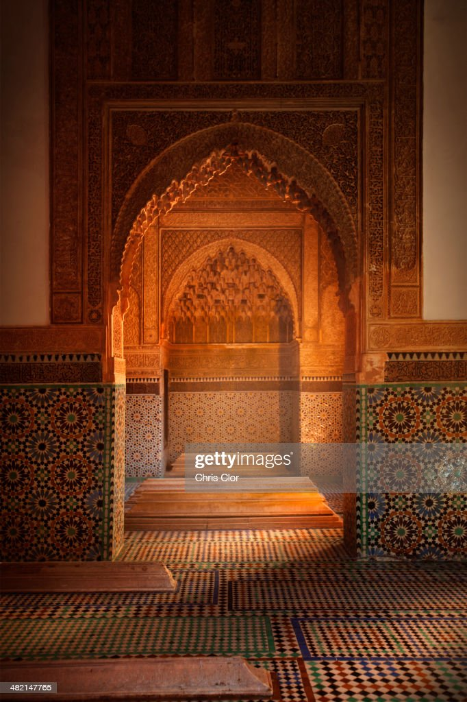 Ornate arches in tiled room, Marrakech, Morocco