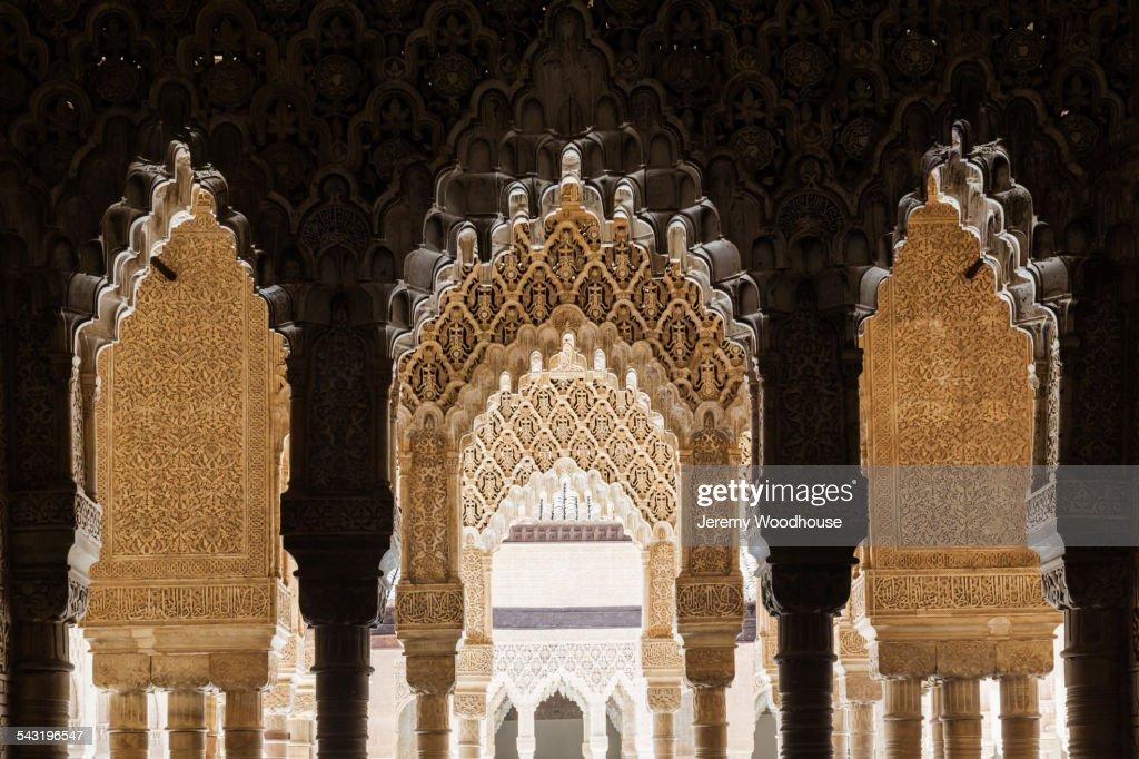Ornate arches on Alhambra, Granada, Andalusia, Spain