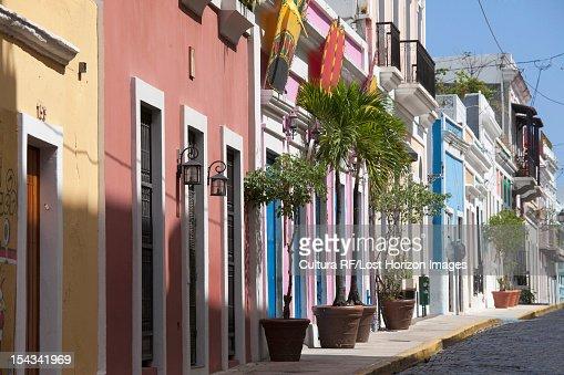 Ornate buildings on city street : Stock Photo