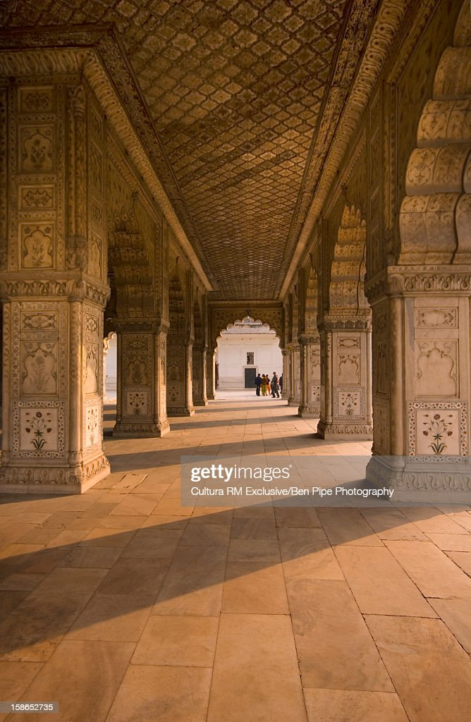 Ornate carved columns in temple : Stock Photo