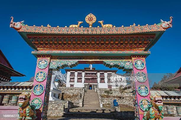 Ornate gate to Buddhist monastery Tengboche Khumbu Himalayas Nepal