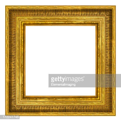 ornate gold square picture frame isolated with clipping path stock photo