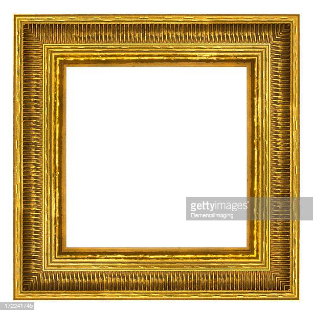 Ornate Gold Square Picture Frame. Isolated with Clipping Path