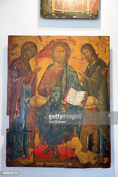 Ornate Greek Orthodox religious iconic painting of Jesus Christ in gallery at Paleokastritsa Monastery in Corfu Greece