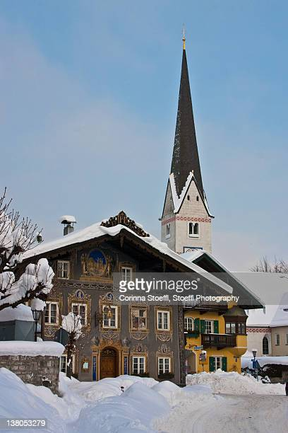 Ornate houses and old catholic church