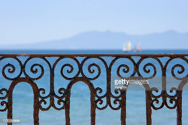 Ornate Ironwork Railing with Ocean View of Puerto Vallarta, Mexico
