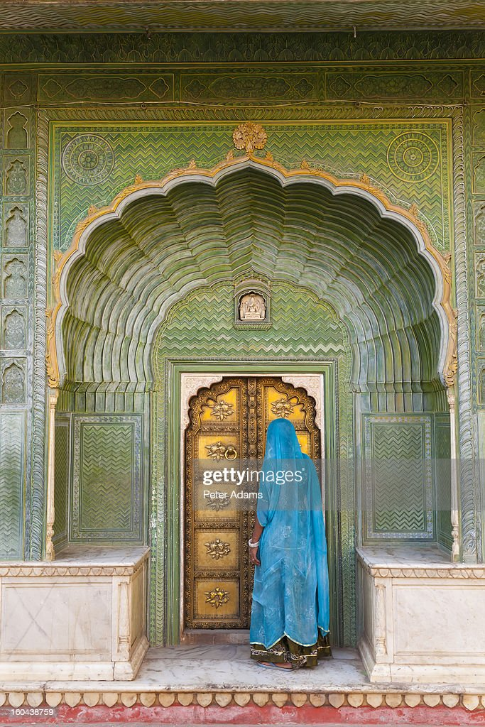 Ornate Peacock Doorway, City Palace, Jaipur, India : Stock Photo
